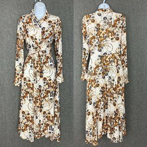 Free People Tough Love Shirt Dress 2 Beige Floral